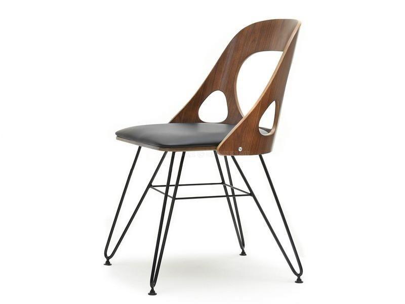 Ażurowe Industrialne Krzesło Na Drucianej Nodze Aida Orzechczarny