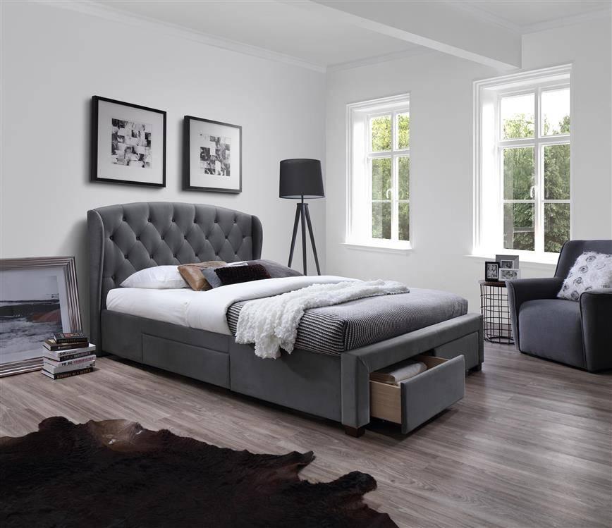 Designerskie łóżko Do Sypialni Sabrina 160200 Szare