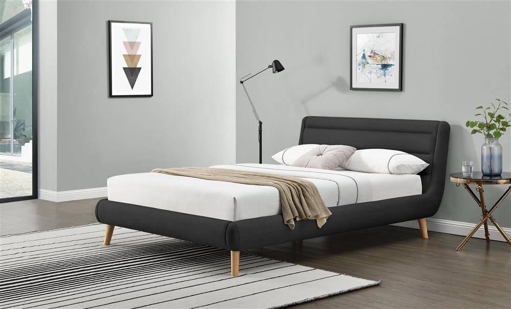 Designerskie łóżko Do Sypialni W Tkaninie Elanda 140200 Ciemny Szary