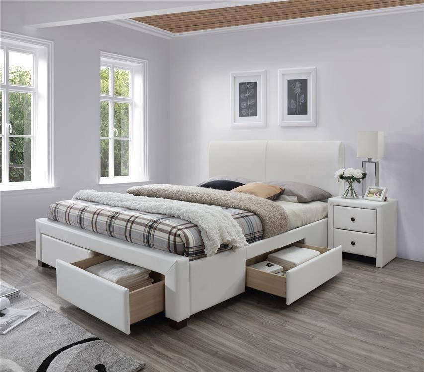 Designerskie łóżko Do Sypialni Z 4 Szufladami Modena 2 160200 Białe