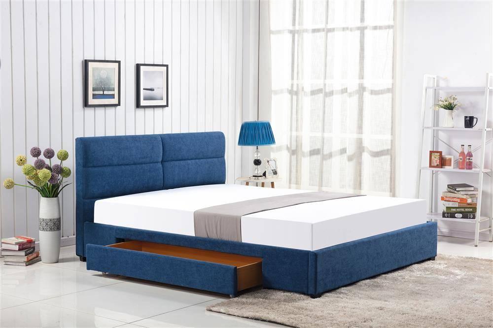 Designerskie łóżko Do Sypialni Z Szufladą Merida 160200 Niebieskie
