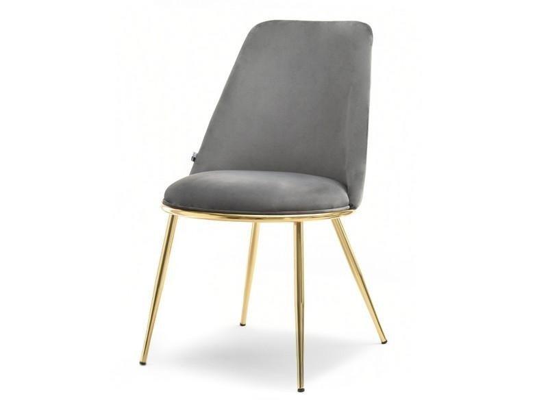 Eleganckie Krzesło Do Jadalni W Stylu Glamour Doris Szare Na Złotych Nogach