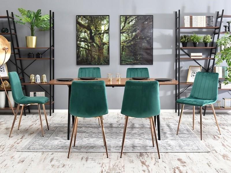 Eleganckie Krzesło Do Jadalni W Stylu Glamour Megan Zielony Welur Na