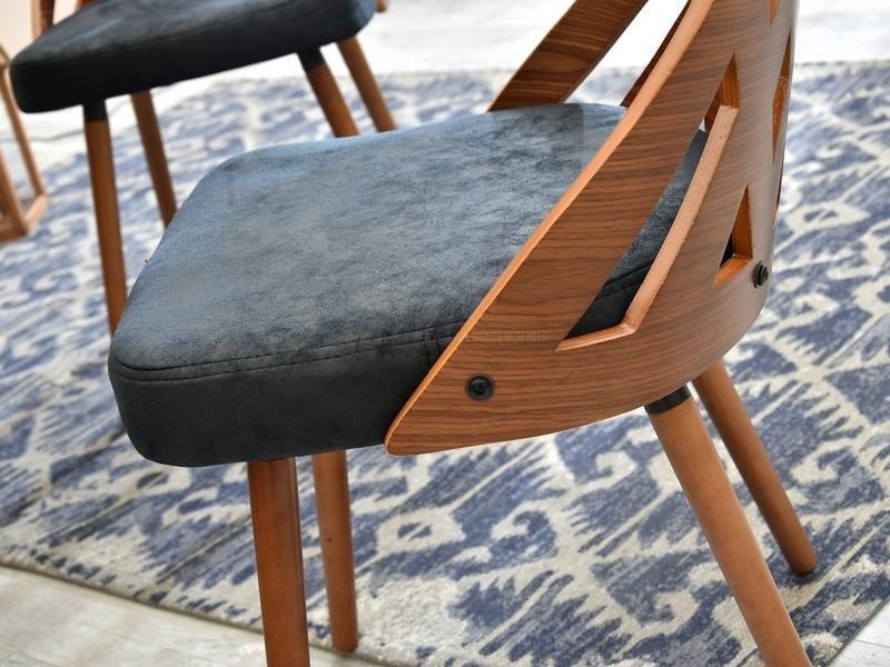 Krzesło ażurowe z drewna i tkaniny CRABI orzechczarny