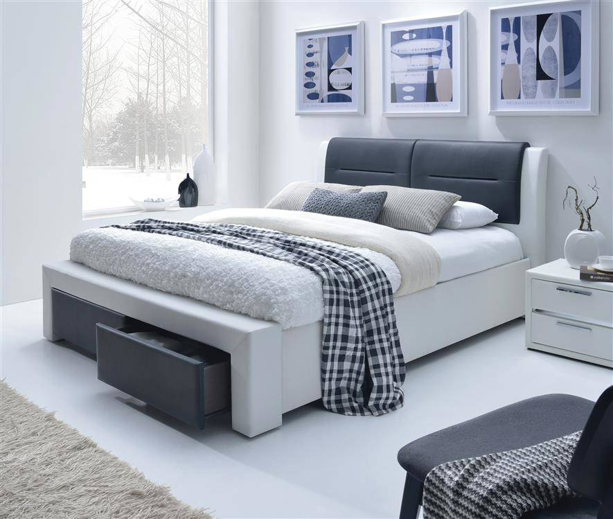 łóżko Do Sypialni Tapicerowane Z Szufladami Cassandra S 160200 Czarno Białe