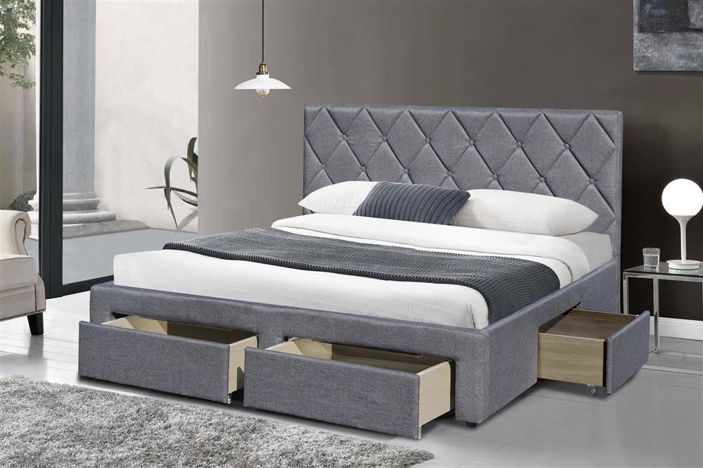 łóżko Z Czterema Szufladami Betina 160200 Szare