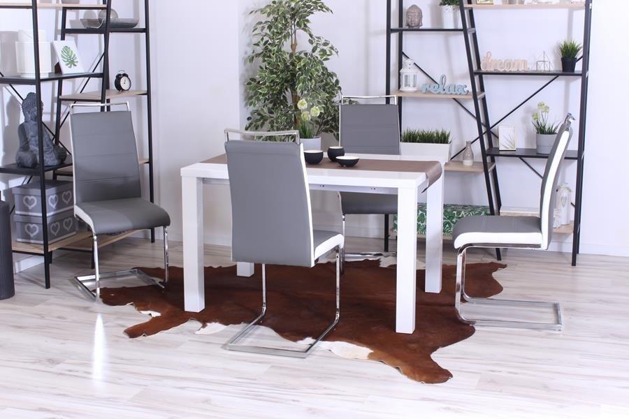Nowoczesne krzesło na płozach TANGO szaro białe