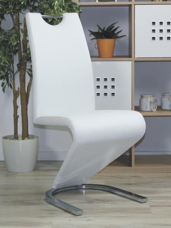 Nowoczesne krzesło z rączką TIESTO na podkowie białe