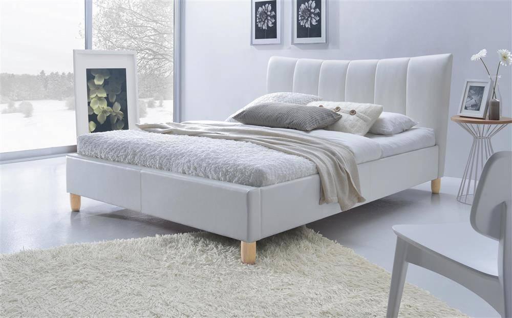 Nowoczesne łóżko Do Sypialni Tapicerowane Sandy 160200 Białe 13529