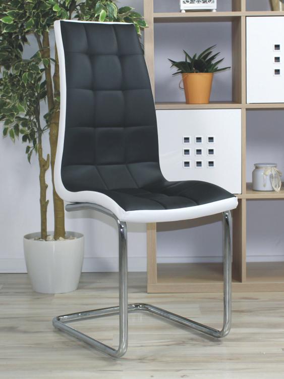 Pikowane Krzesło Na Płozach Corso A Czarno Białe
