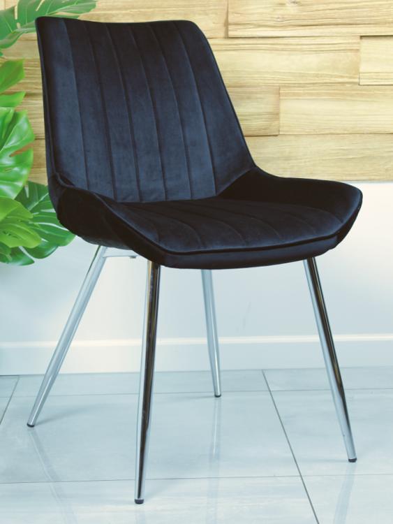Stylowe krzesło welurowe VERSO czarne z chromowanymi nogami