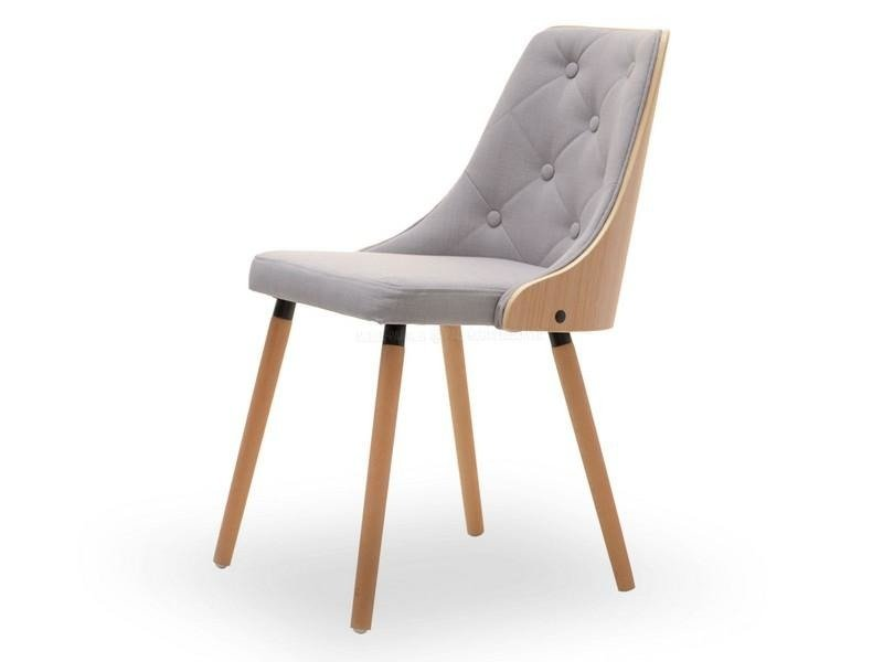 Nowość Tapicerowane krzesło na drewnianych nogach MAGNUM szary/buk 14511 ZJ79